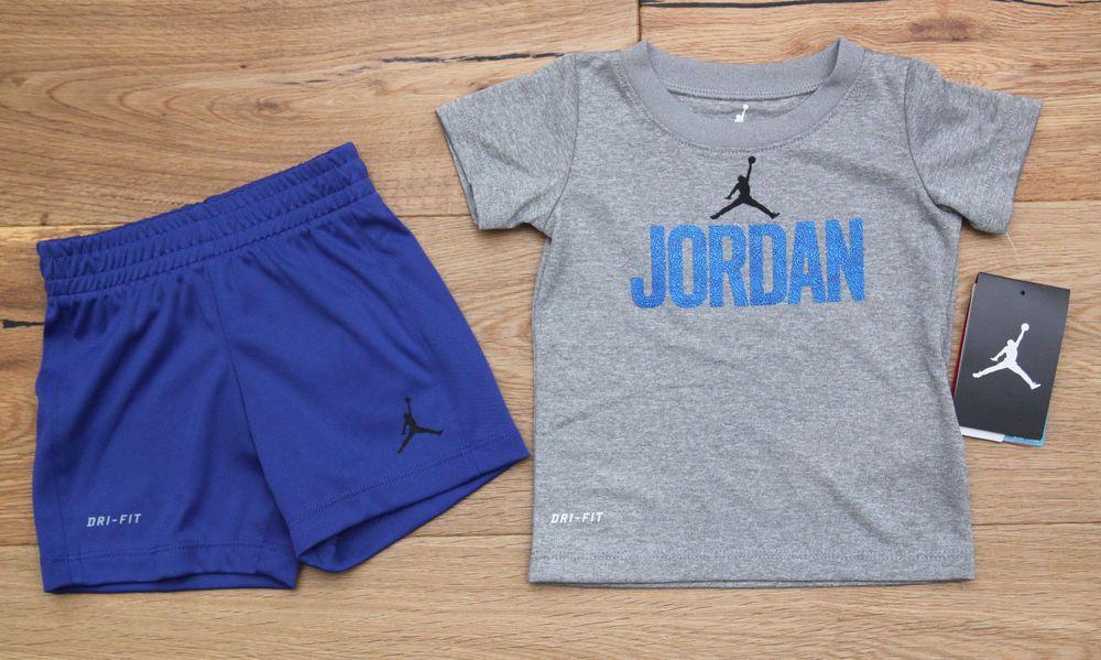 Air Jordan Baby Boy Tee /& Shorts Set ~Heather Gray Blue /& Black~Jumpman~Dri-Fit