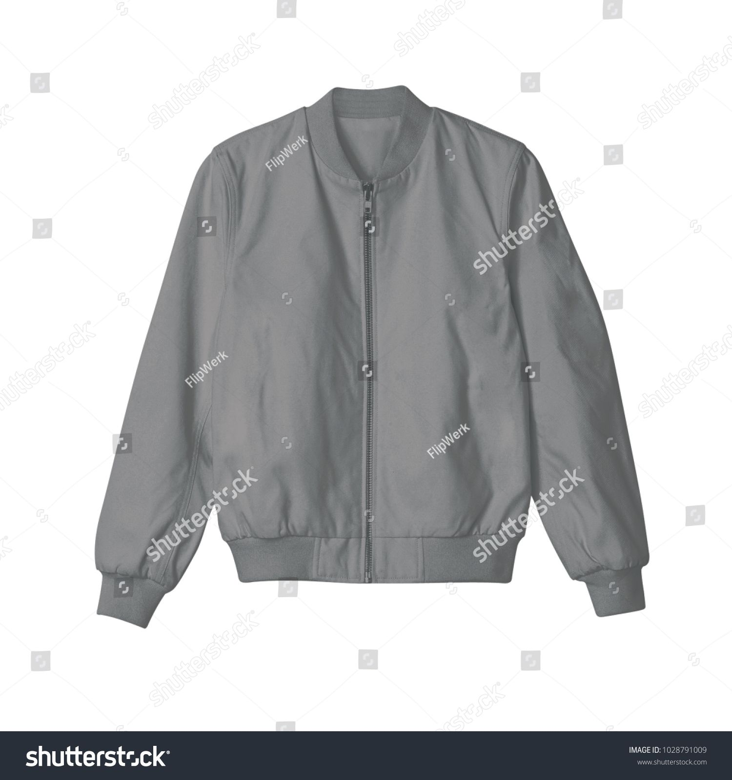 blank jacket bomber black color front view on white