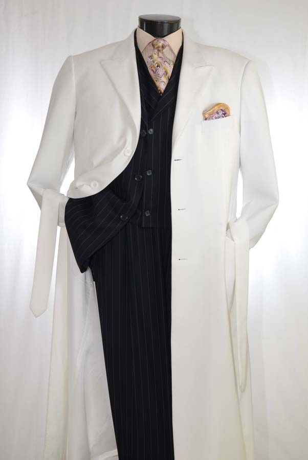 White Falcone Stacy Adams Mens 3Pc Belted Pleated Designer Vested Stylish Suit