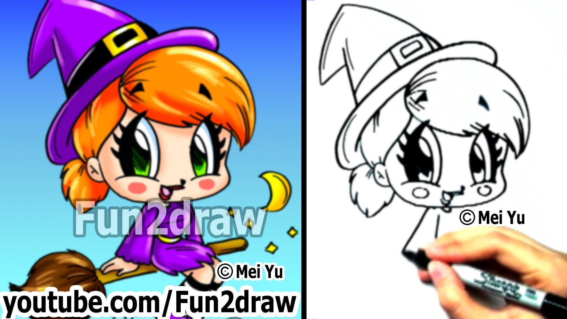 How to Draw Chibi - How to Draw a Witch - Draw People - Cute Drawings - ...