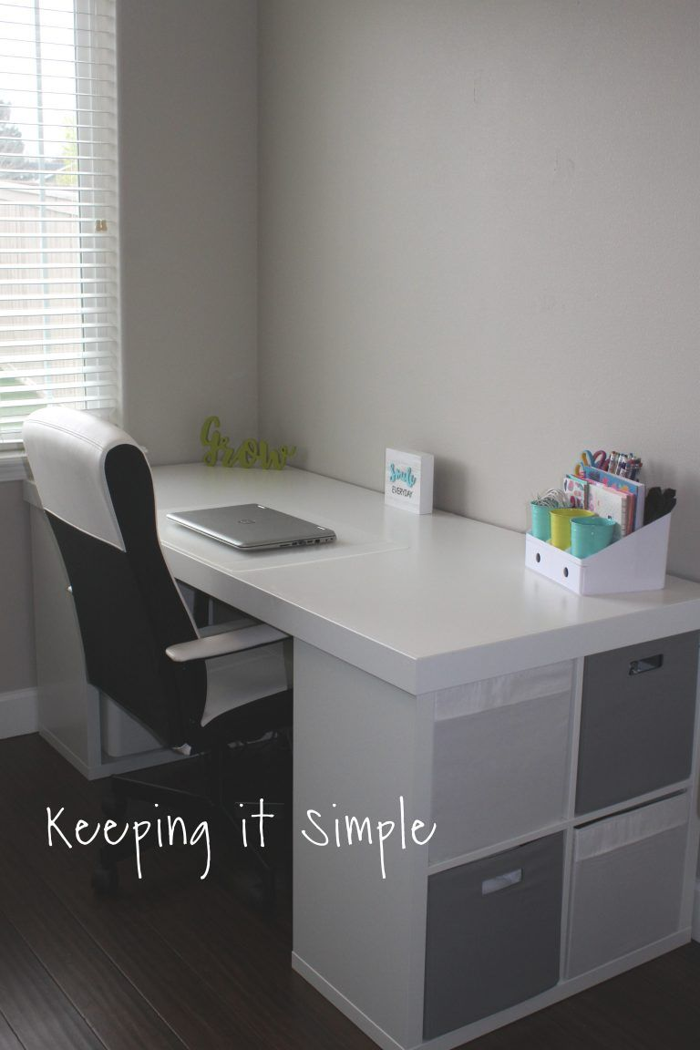 Ikea Hack- DIY Computer Desk with Kallax Shelves #computer