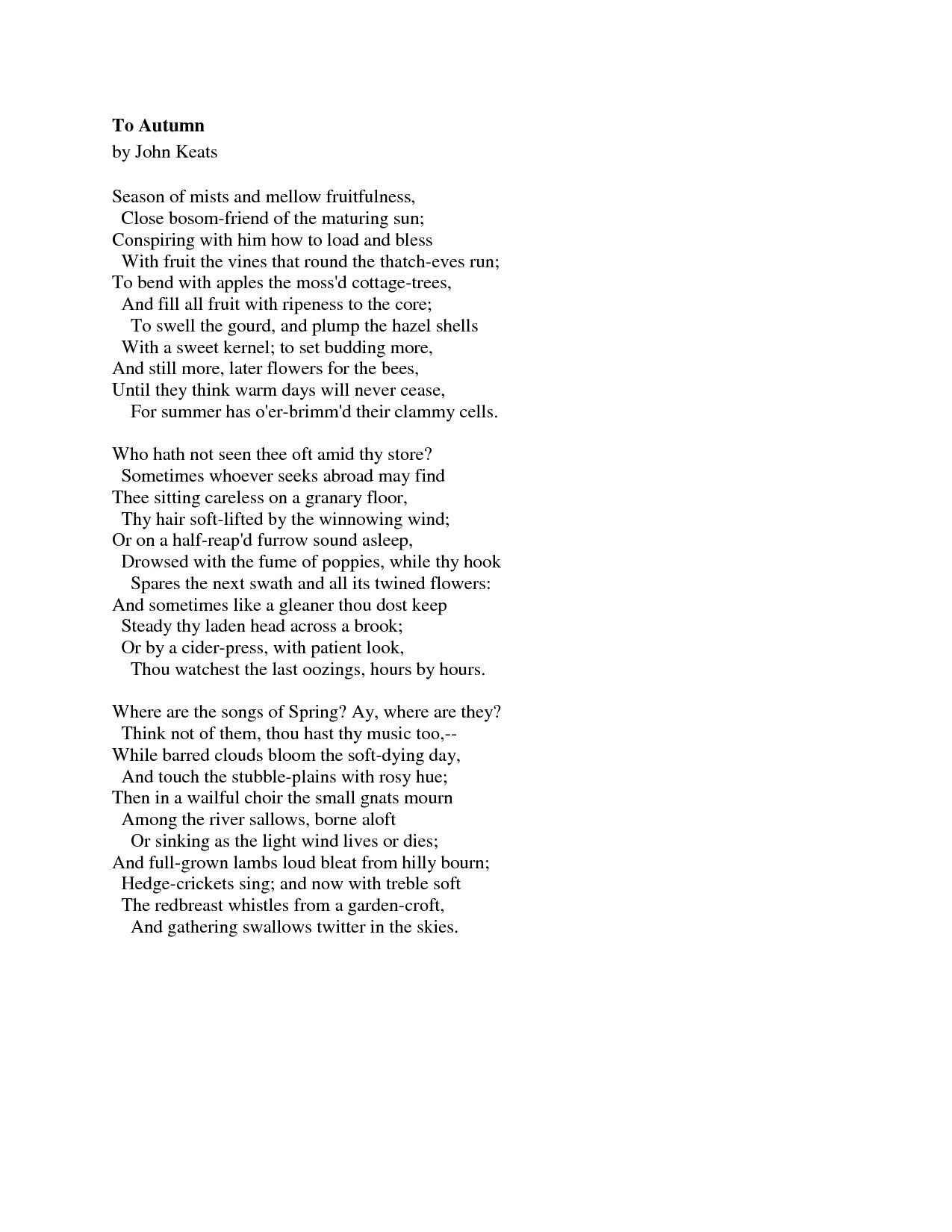 To Autumn By John Keats Analysis: John Keats Poem Ode To Autumn. Ode To Autumn By John Keats