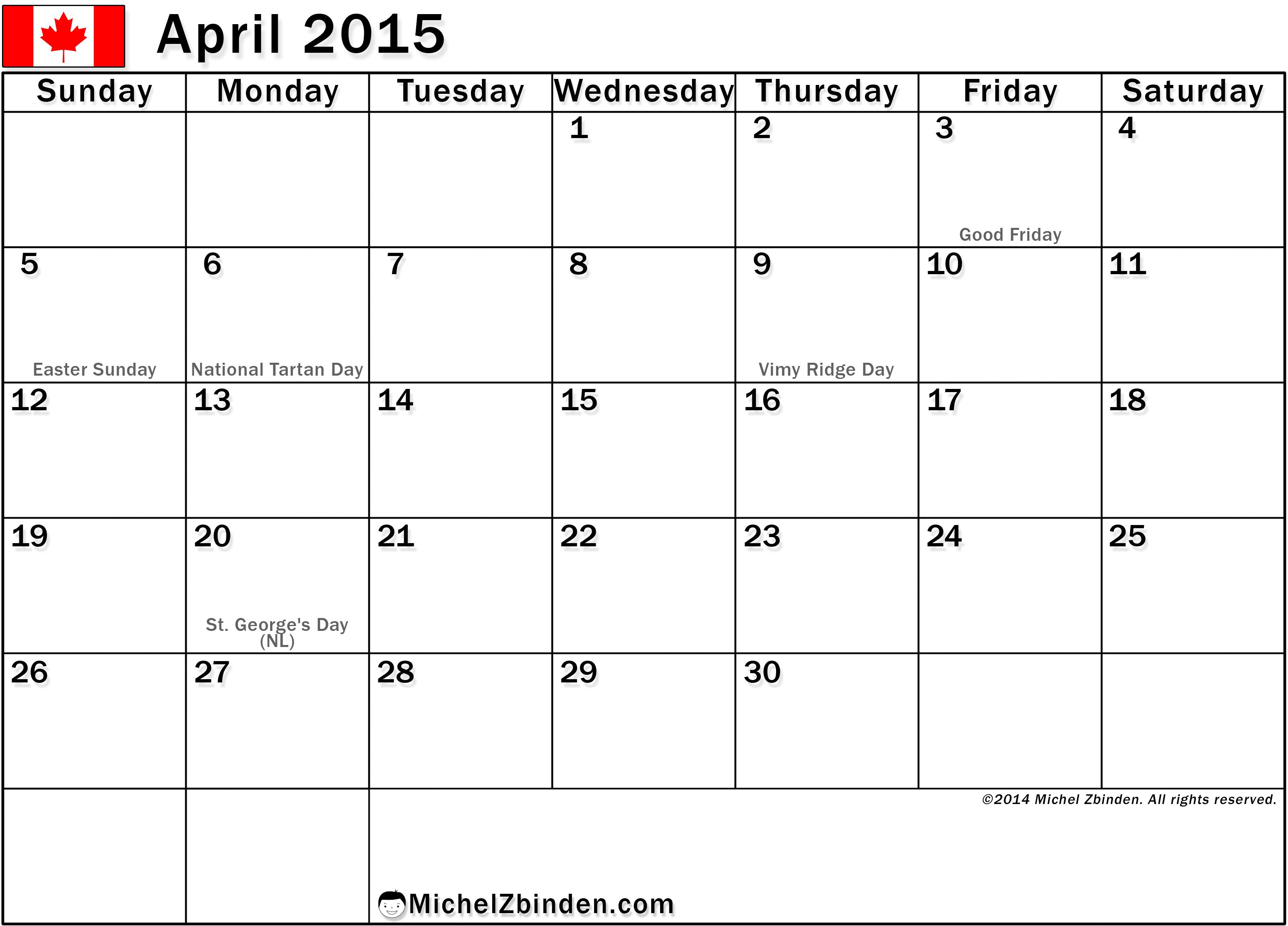 April  Calendar With Holidays  Calendar