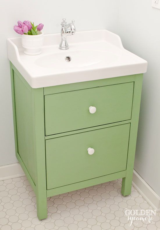 Green IKEA Custom Bathroom Vanity   The Golden Sycamore