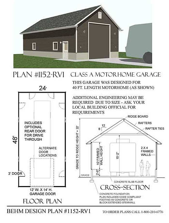 Rv Motor Home Garage Plan 1152 Rv1 24 X48 Garage Shop Plans Rv Garage Plans Garage Plans
