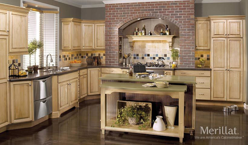 this fully functional kitchen from merillat cabinets features a bi level island that invites people. Interior Design Ideas. Home Design Ideas
