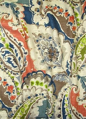Aretha Coral Housefabric Com Luxurious Watercolor Floral Paisly