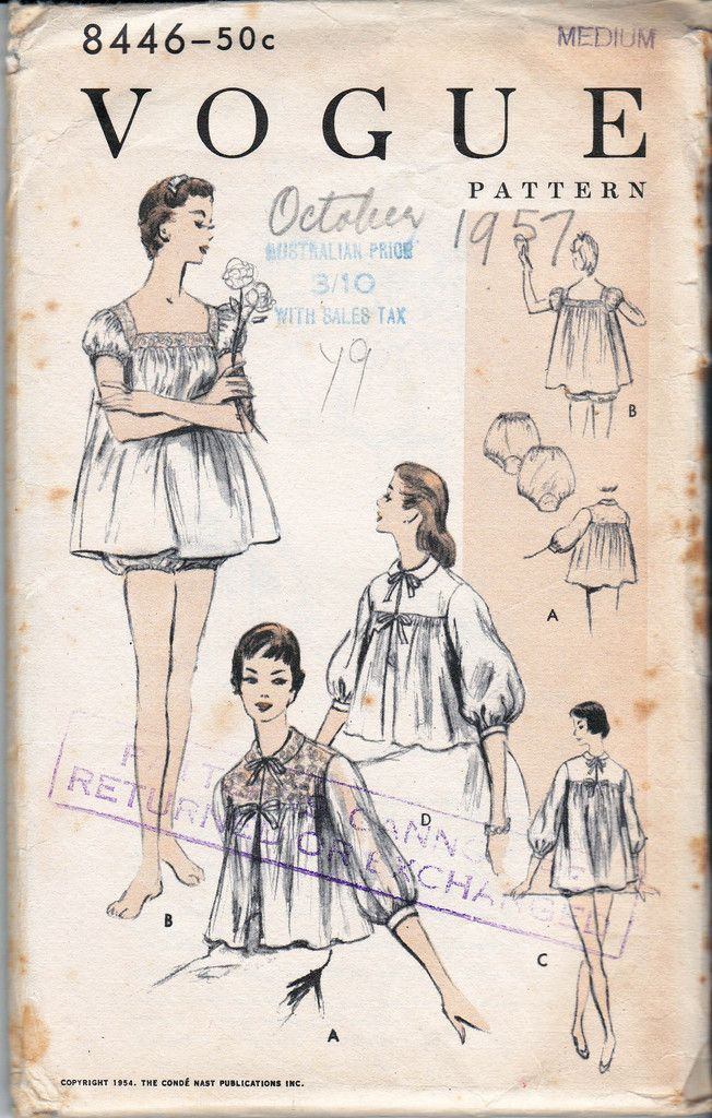 50s Womens Babydoll Nightgown Bed Jacket and Bloomers Pattern Vogue ...