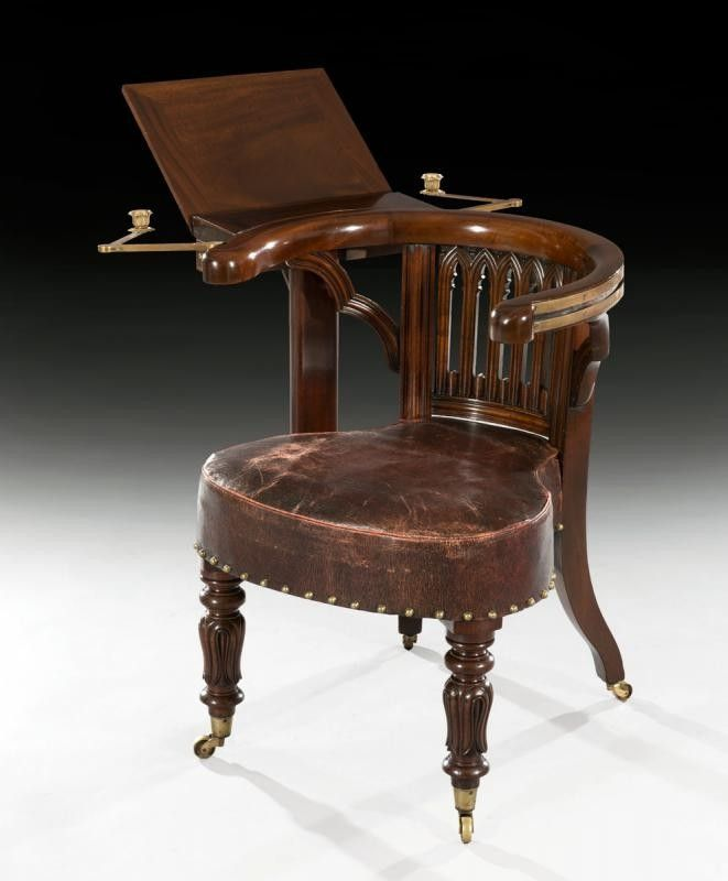Rare Regency Mahogany Library Reading Chair in the 'Gothic' taste,  attributed to John Durham of London : The British Antique Dealers'  Association - 1830 A Rare Regency Mahogany Library Reading Chair In The 'Gothic