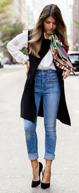 c26865bc4a3 Ultimate + Parisian chic + Pam Hetlinger + layers + long vest + simple  white shirt + high-waisted jeans + multi-coloured scarf + dark pumps.