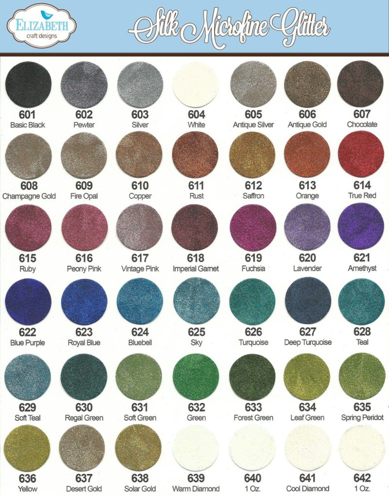 Silk Microfine Glitters Color Charts Pinterest Elizabeth Craft