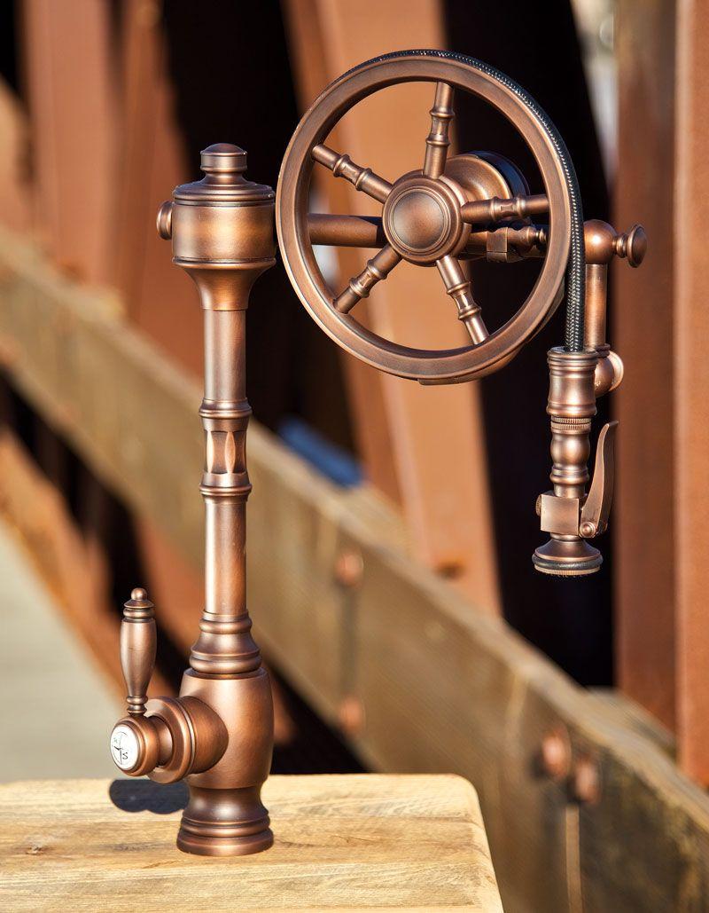 Waterstone Wheel Pulldown Faucet - 5100. Shown in Amercian Bronze ...