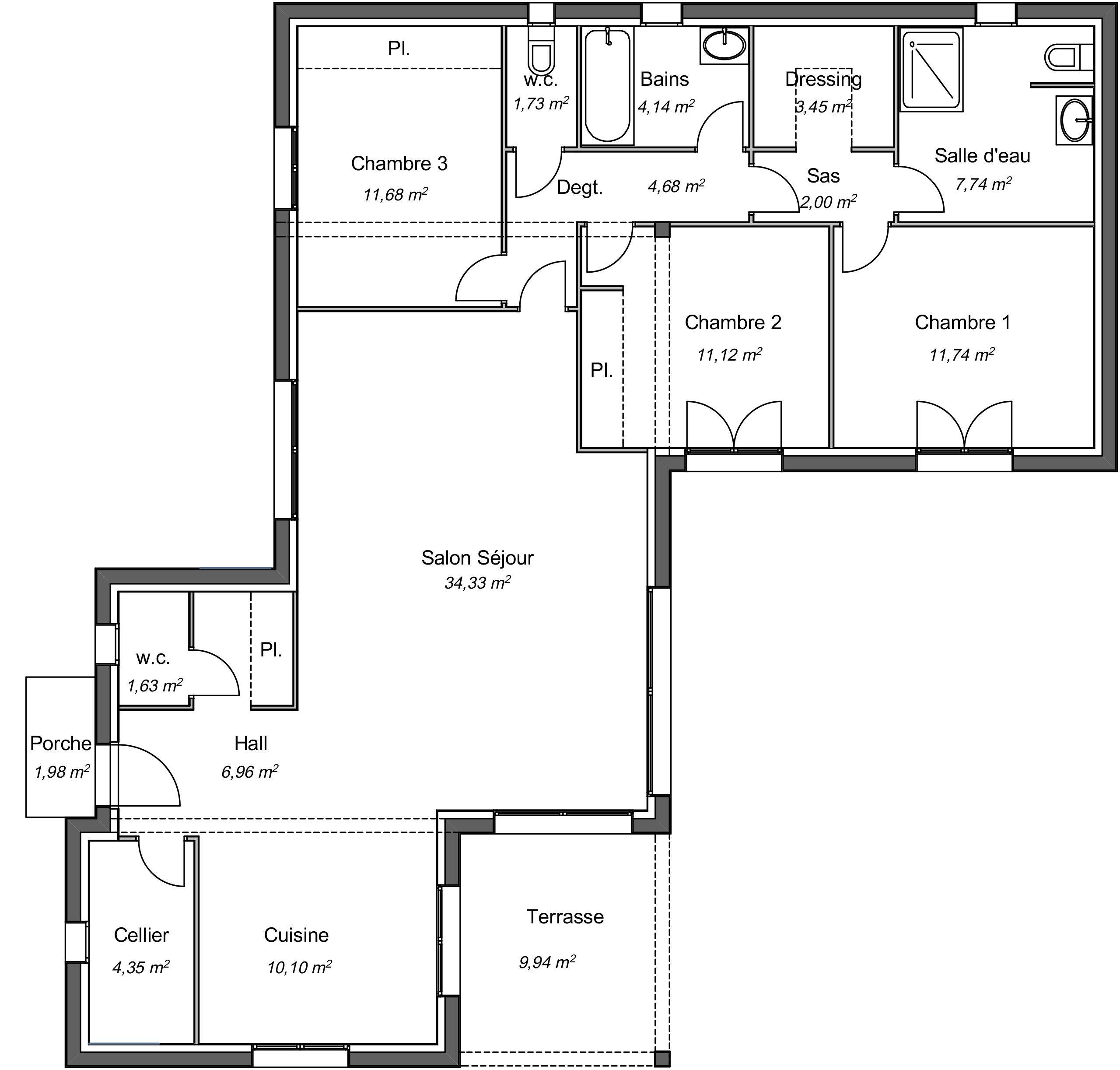 Maison contemporaine plain-pied Seringat avec plans - Demeures d'Occitanie Constructeu… | Plan ...