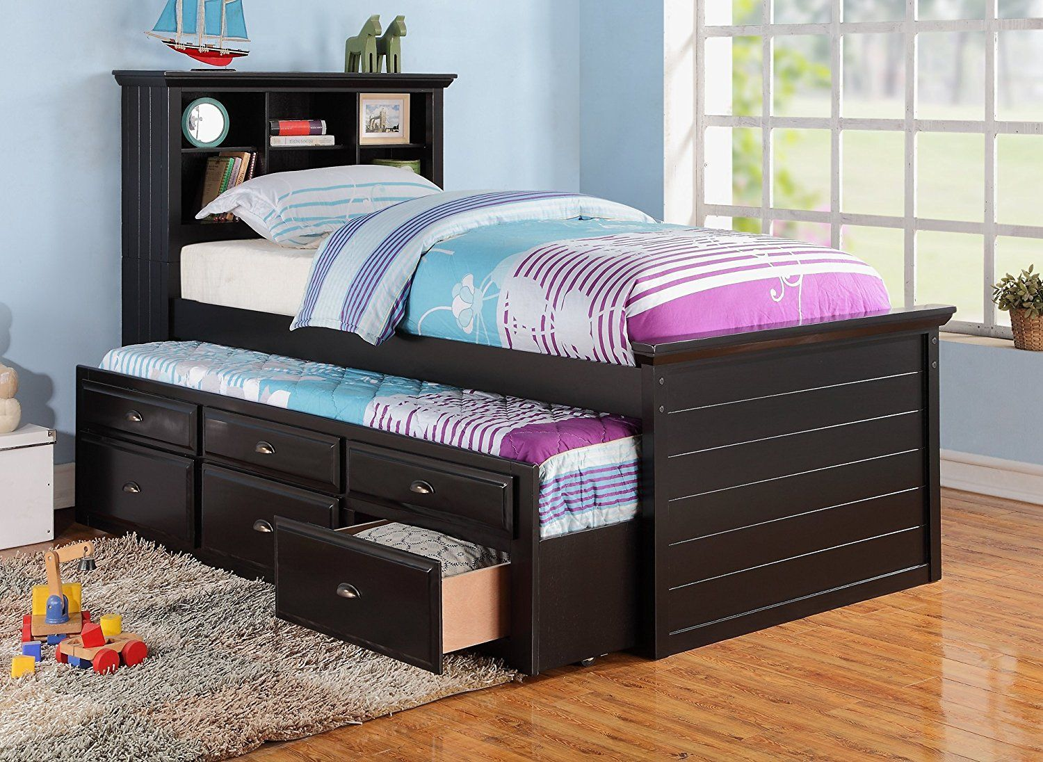 9 Furniture4you Black Captain Twin 3 Drawers Storage Cheap Bedroom Furniture Bed With Drawers Twin Trundle Bed