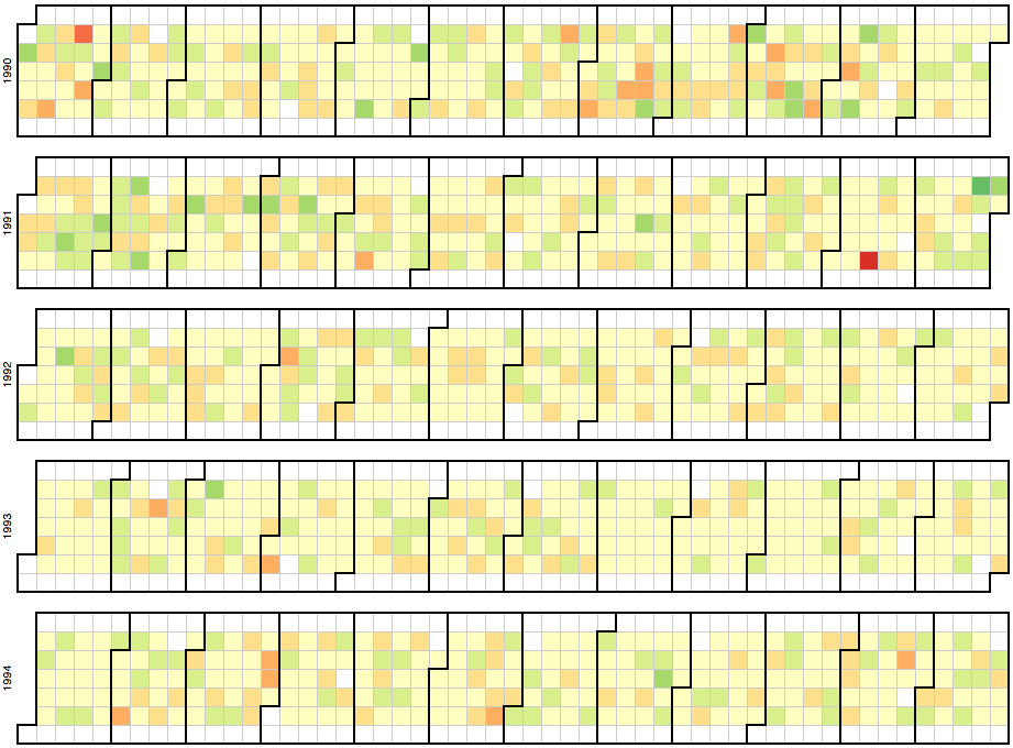Time-series Heatmap generated with D3.js | Data Visualization | Data on