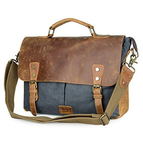 f6cd7322a576 Amazon.com  Rustic Town Handmade Leather Canvas Vintage Crossbody Messenger  Bag Gift Men Women Travel Work ~ Carry Laptop Computer Books ~ Everyday  Office ...