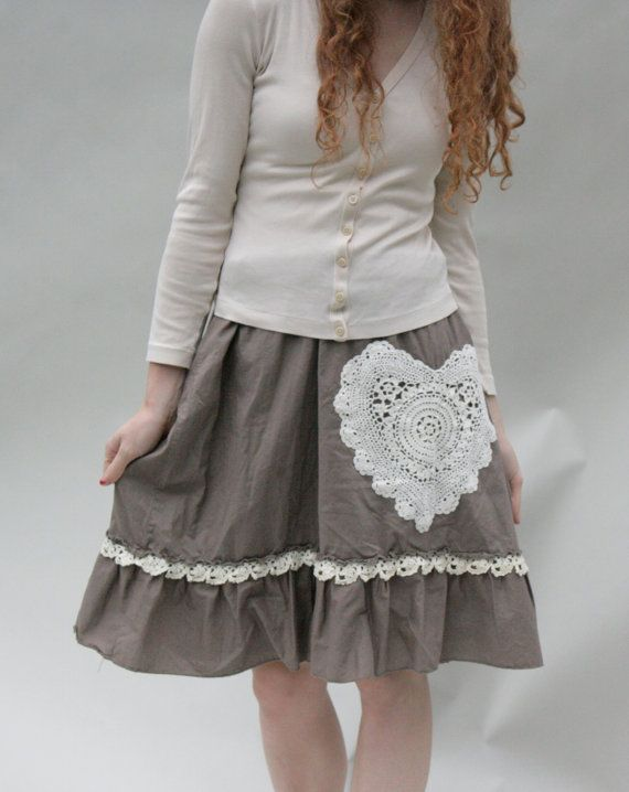 Upcycled Skirt Taupe Brown Heart Doily