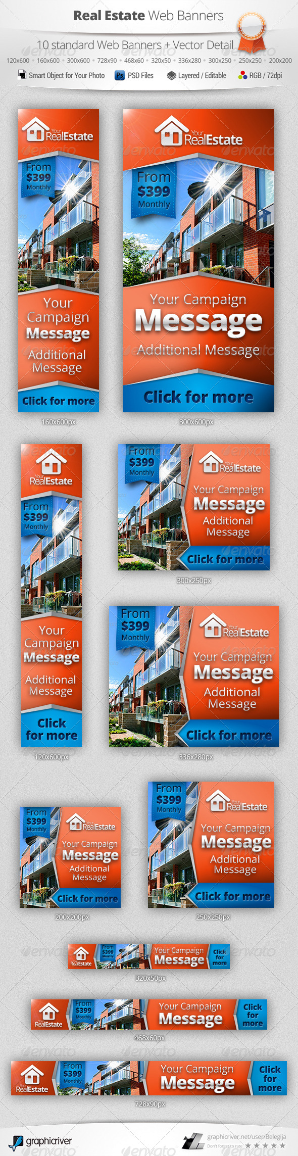 Real Estate Campaign Web Banners 2 | Web banners, Banner template ...