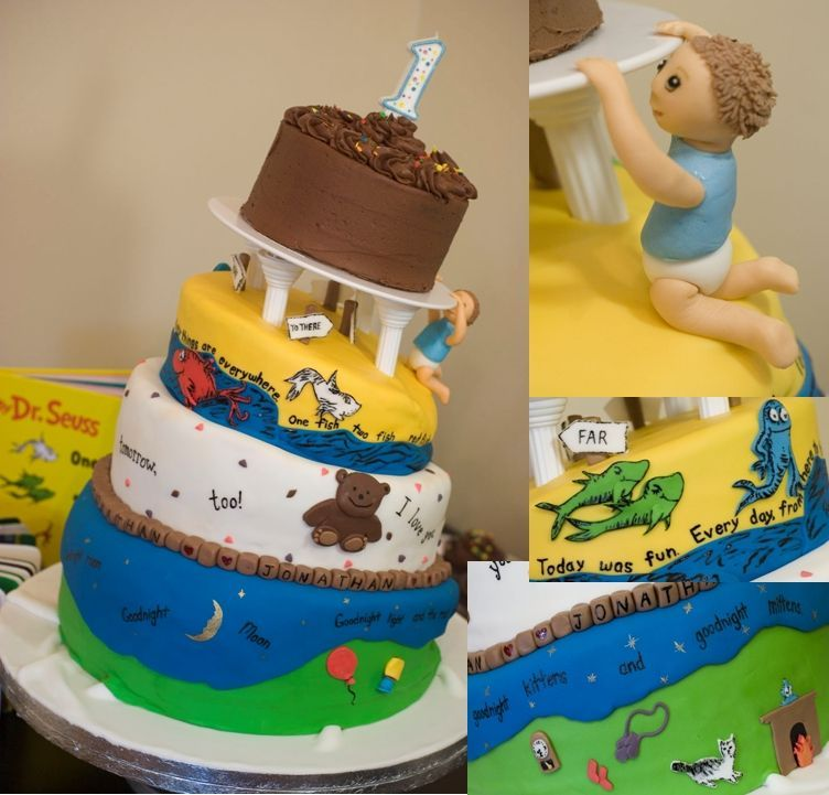 1st birthday cake one fish two fish boys and dr seuss on baby boy 1st birthday cake decorations
