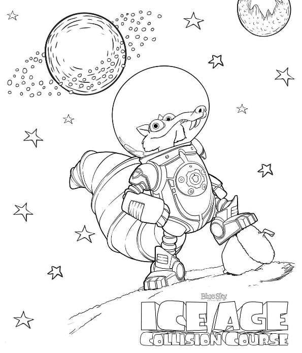 Coloring page Ice age collision course scrat in space Coloring