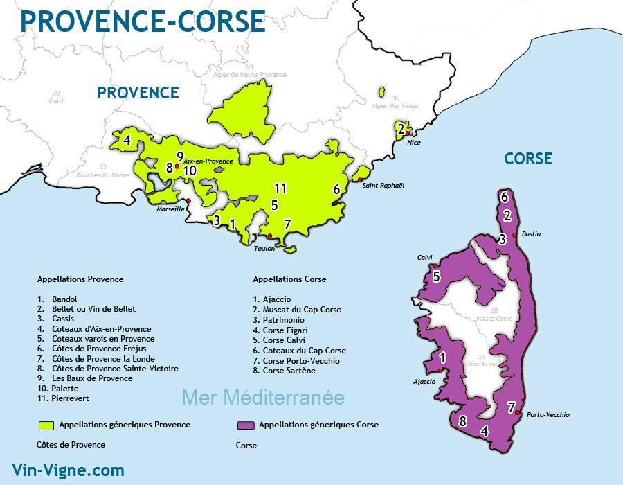 Carte Des Vins Provence Corse Frankrijk