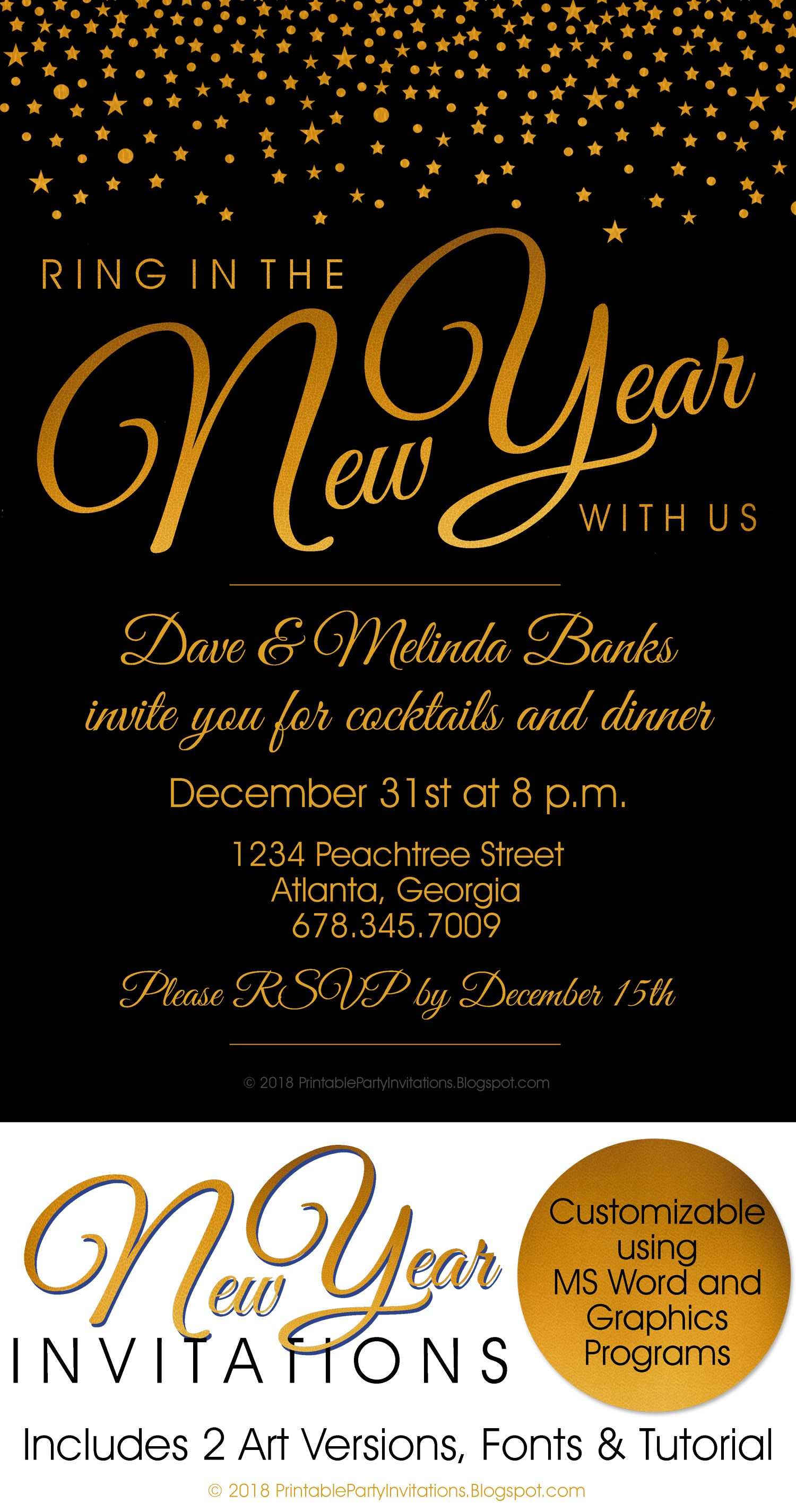 Free Printable New Year S Eve Invitations New Years Eve Invitations Free Printable Party Invitations Party Invitations Printable