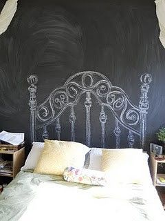 paint wall chalkboard, get bed from basment  take of head/back board, draw head board on!