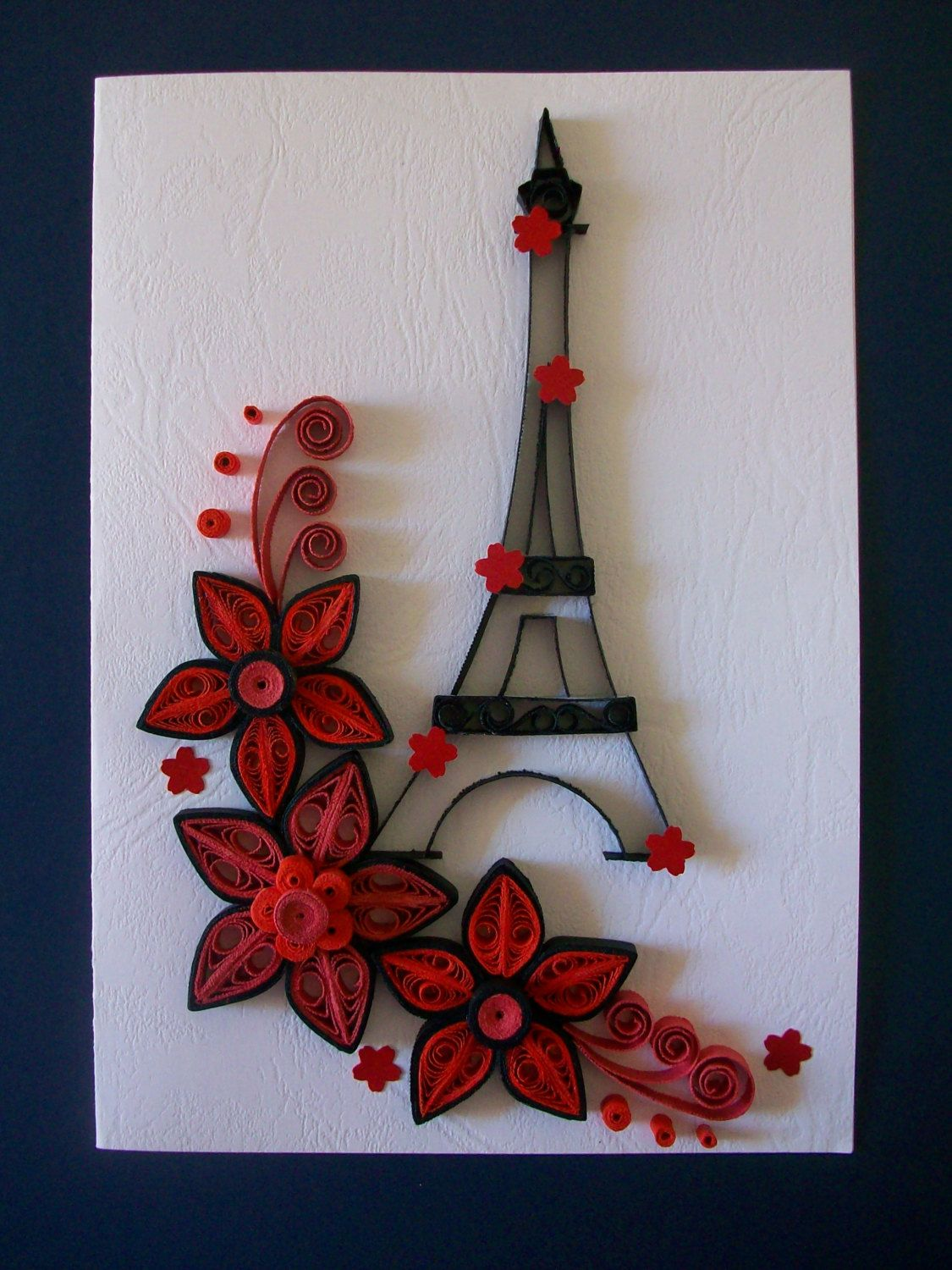Quilling card handmade quilling greeting card birthday for Designs for valentine cards