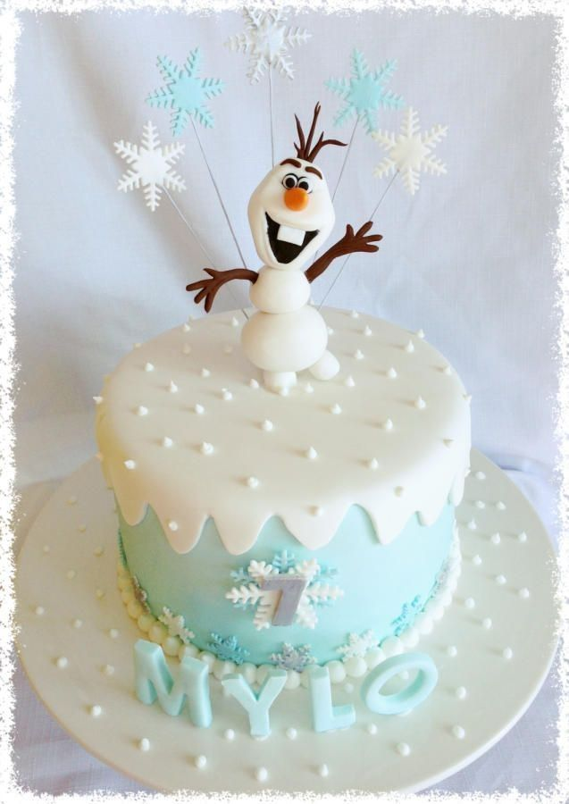 Cake Decoration Olaf : Frozen Olaf cake with snowflake toppers - 2014 Halloween ...