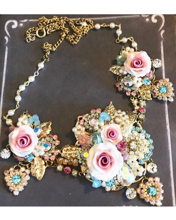 b9ae376c9439 beautiful statement necklace fit for Marie Antoinette porcelain flowers Swarovski  crystals pearls beads shabby chic  1006-18