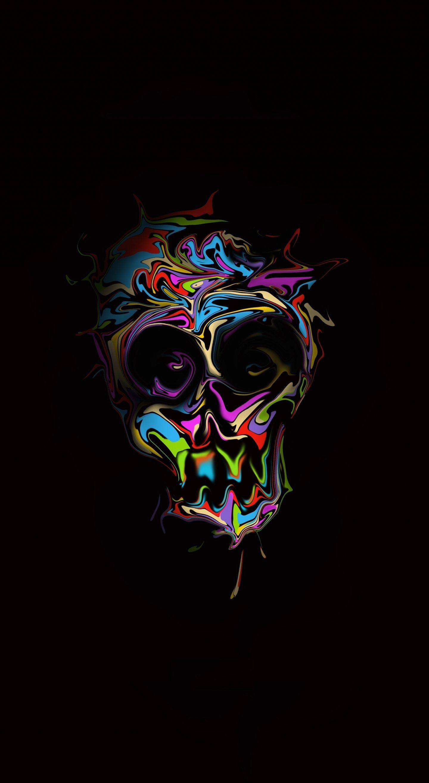 1440x2630 Glitch, colorful skull, dark, artwork wallpaper