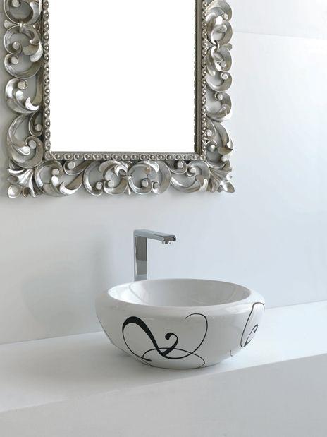 Blend, design Meneghello Paolelli Associati. Lavabo d'appoggio / Counter top washbasin #bagno #bathroom #design #decor #white #black  #sanitaryware #Artceram