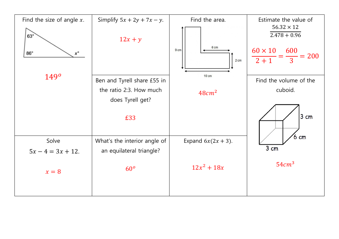 Gcse Non Calculator Revision Mats Higher And Foundation