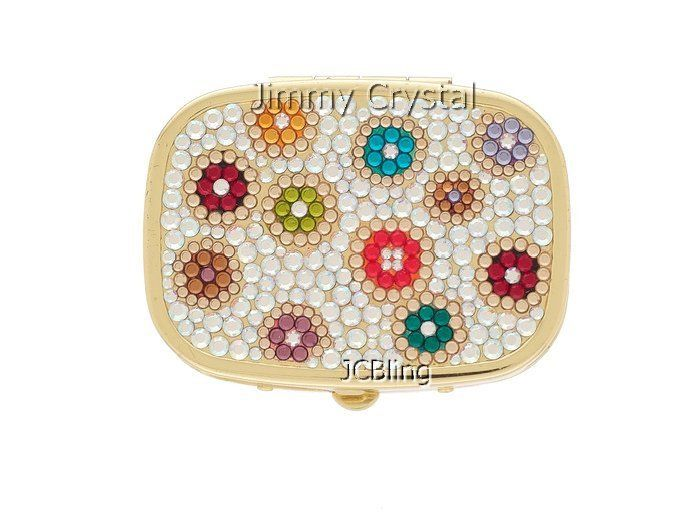 JCBling - Swarovski Crystal Multi Color Pill Box with Gold Metal Base Style