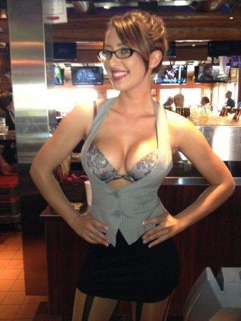 Big tit blonde milf at work