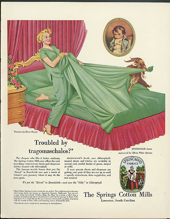 Image Detail For Troubled By Tragomaschalos Springmaid Sheets Ad 1953 Blonde Vs Goat In