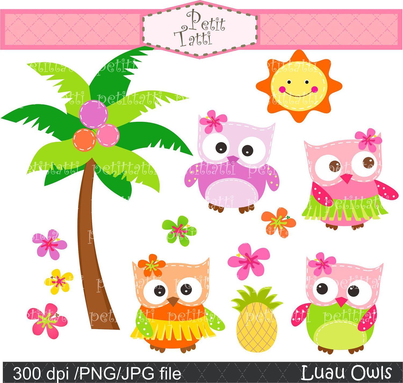 Owl Clip Art Luau Parties Scrapbooking Clip Art Instant Download Digital Clip Art Aloha Owls Hawaiian Owloha Owl Clip Art Clip Art Digital Clip Art