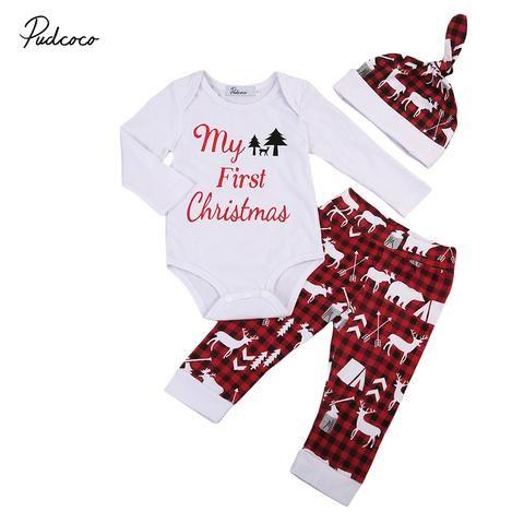 603489249 3pcs Xmas set Newborn Baby Girls Boys My First Christmas long sleeve ...