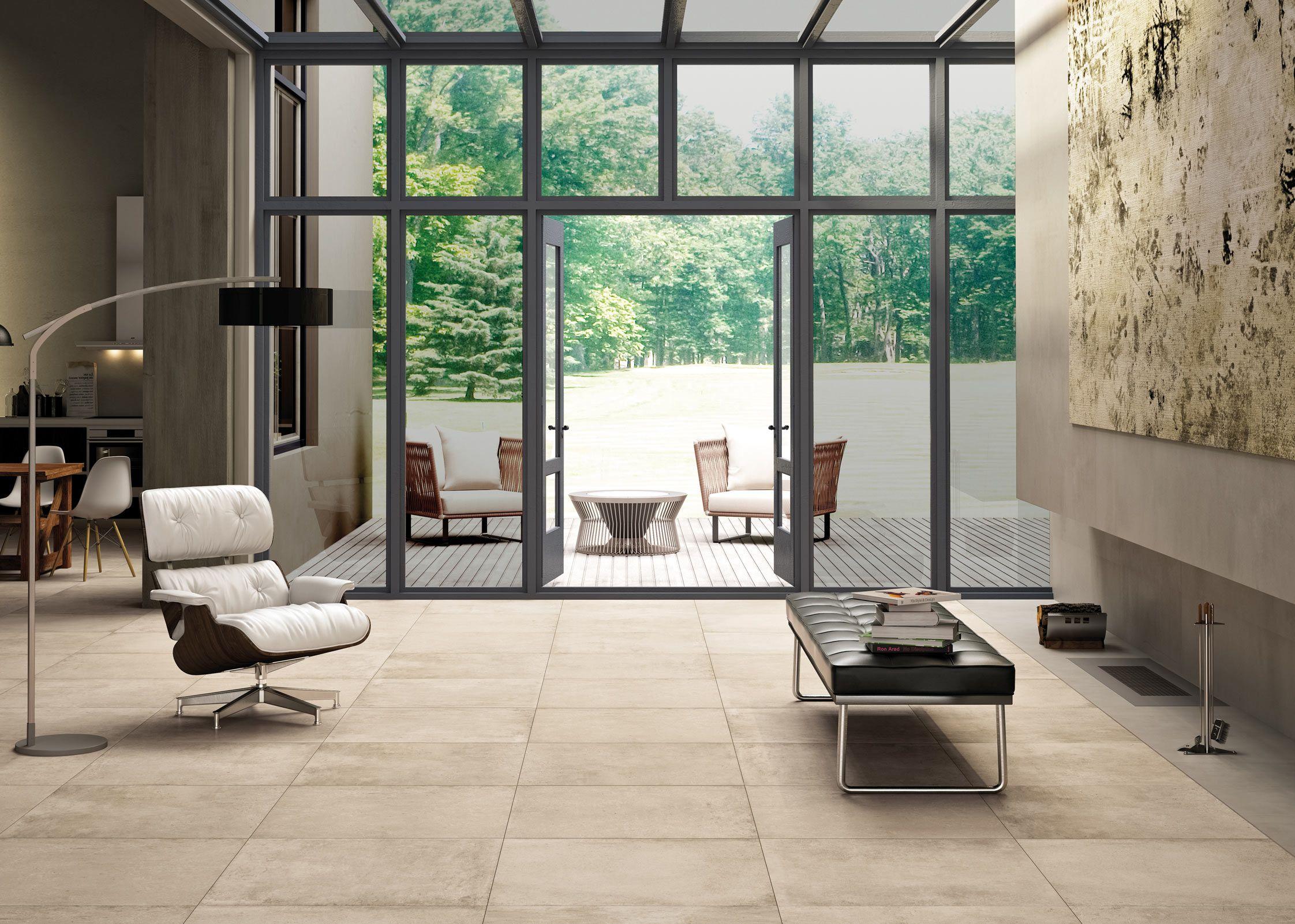 Concrete floor leading to a deck Floor design, Stone