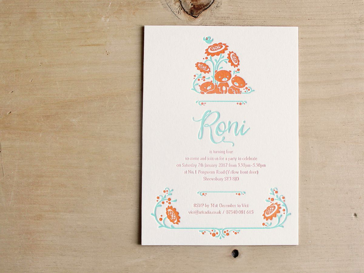 Letterpress printing, kids party invitation, illustration, soy ink ...