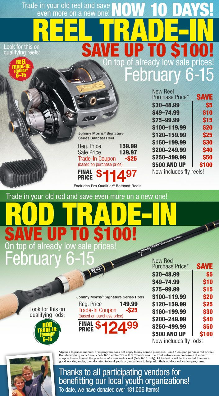 Trade In Your Old Rod Or Reel And Receive A Coupon Towards The Purchase Of A New Rod Or Reel Up To 100 Off Spring Fishing Outdoor Sporting Goods Rod And Reel