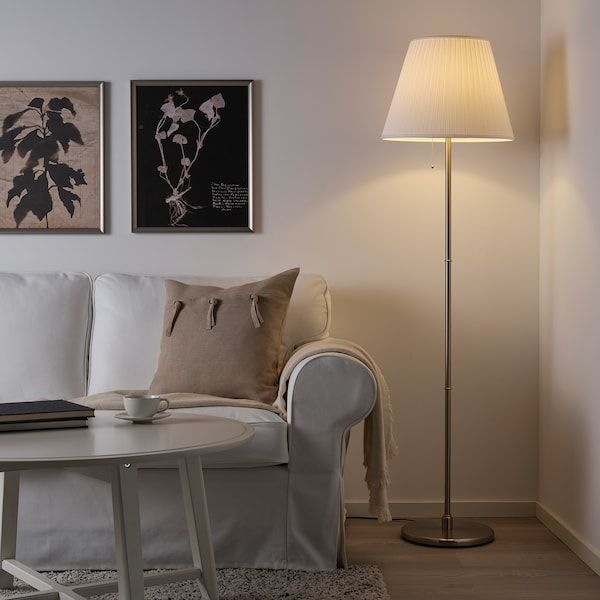 Kryssmast Floor Lamp Base Nickel Plated Ikea Ireland Paralumi Telaio Paralume Lampade Soggiorno