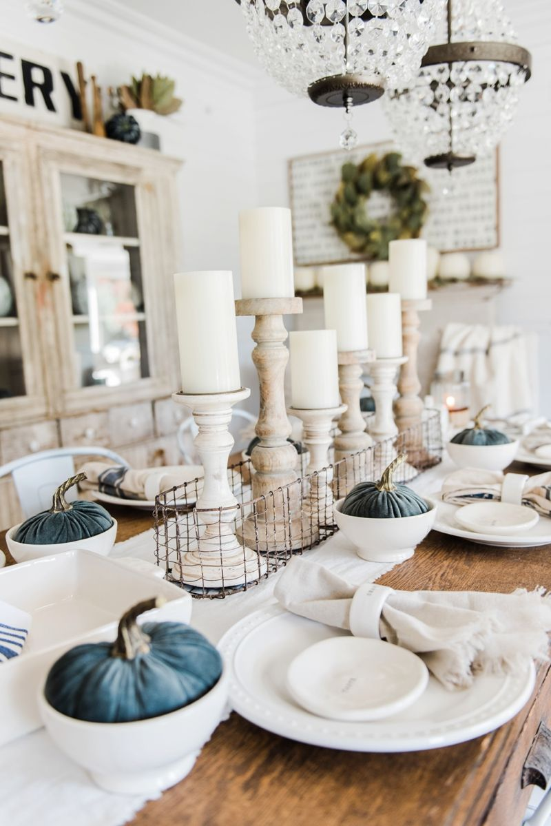 Simple neutral fall farmhouse dining room dining room for Modern table centerpieces