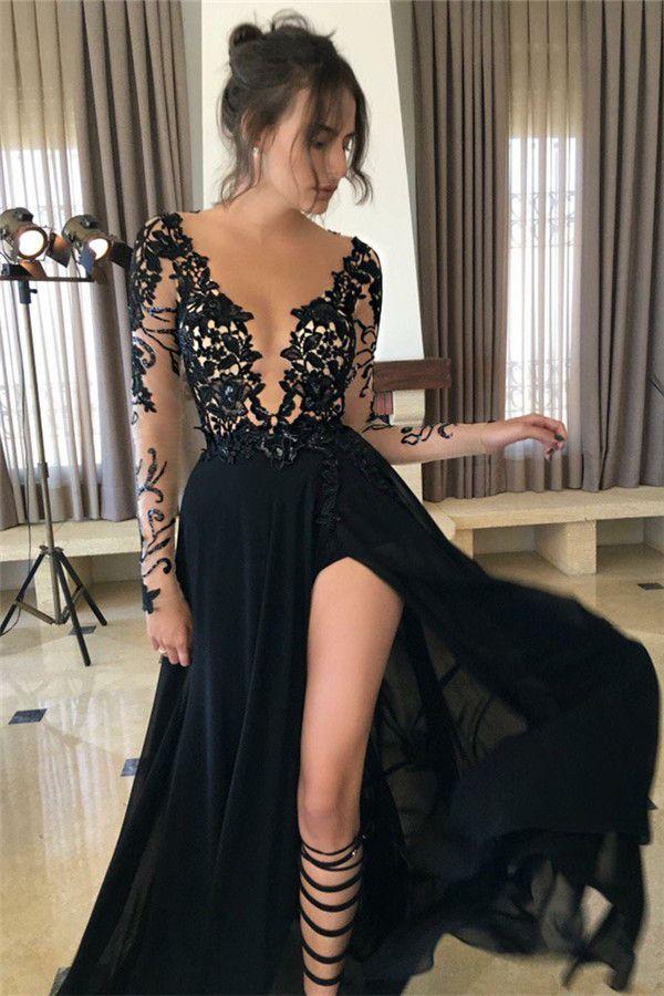 Illusion Bodice Long Black Jersy Prom Dress With Side Slit on Luulla ...