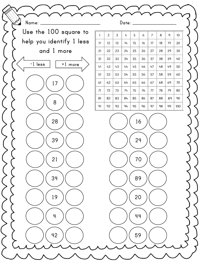 Year 1/2 Maths worksheets - 1 more [ 1100 x 850 Pixel ]