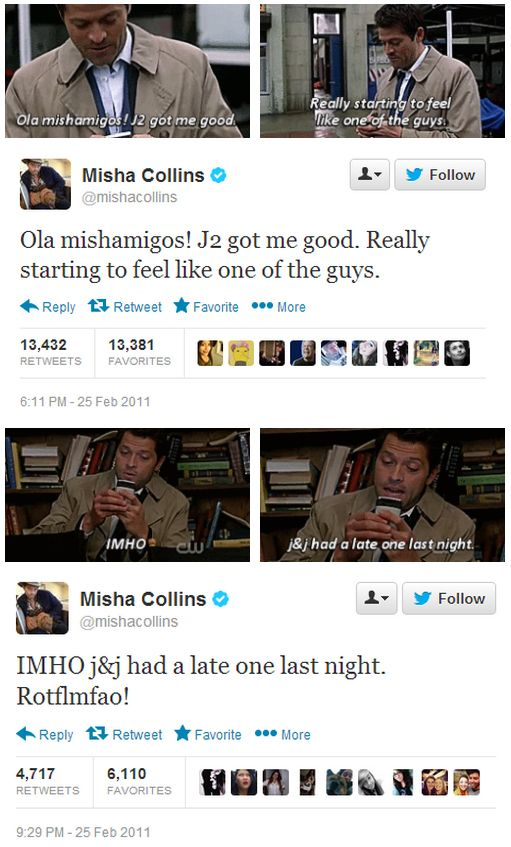 Misha's tweets from filming The French Mistake  I so wish I