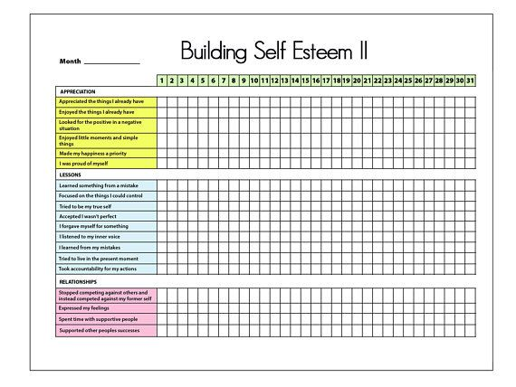 Self Esteem Ii Printable Tracker Bullet Journal Mental