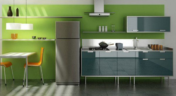Dark Green Accent Wall Paint For Grey Kitchen Decoration Part 43