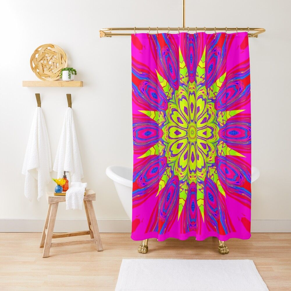 Neon Sun Shower Curtain Shower Curtain Curtains Neon
