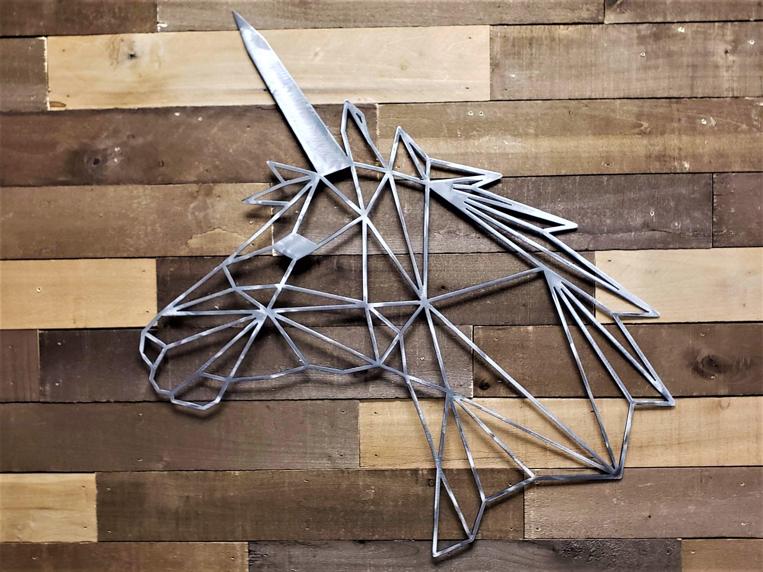 Geometric steel unicorn metal wall art this design